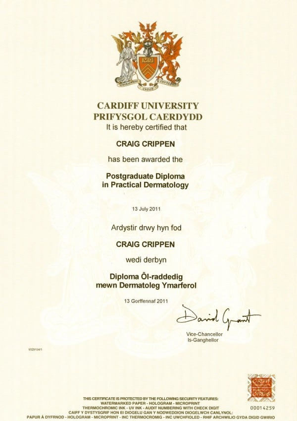 Diploma in Dermatology (DPD) – (Cardiff, Wales 2011)