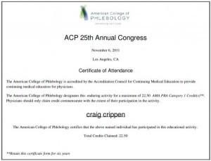 american college of phlebology for venous disease